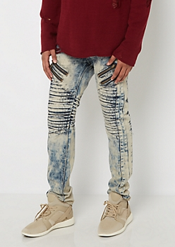 Acid Washed Zipped Moto Jean