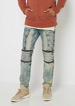 Light Vintage Washed Moto Skinny Jean