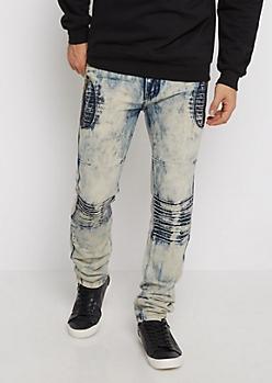 Acid Washed Moto Slim Jean