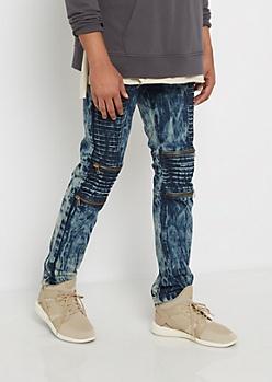 Dark Vintage Washed Moto Skinny Jean