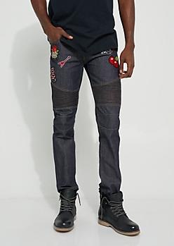 Slim Fit Patched Dark Wash Moto Jean