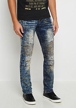 Flex Stained Moto Skinny Jean