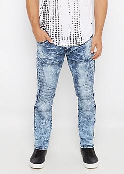 Flex Acid Wash Quilted Skinny Jean