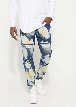 Bleached Moto Skinny Jeans
