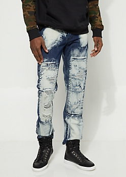 Distressed Acid Wash Slim Fit Jeans