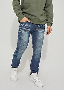 Blue Zip Moto Skinny Jeans