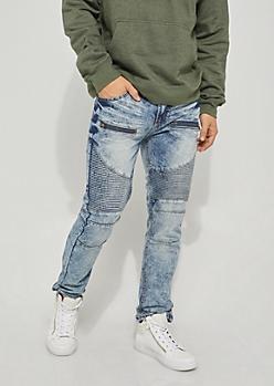 Light Blue Zip Moto Skinny Jeans