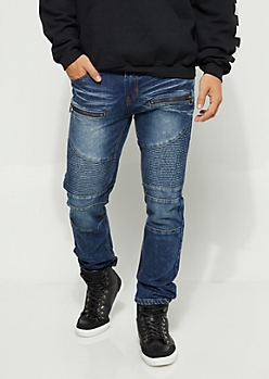 Medium Wash Moto Zipper Skinny Jeans