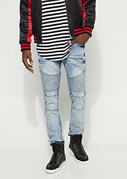Light Acid Wash Moto Skinny Jeans