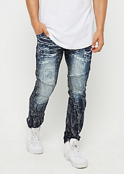 Flex Distressed Baked Wash Moto Skinny Jeans