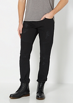 Black Tapered Moto Jean