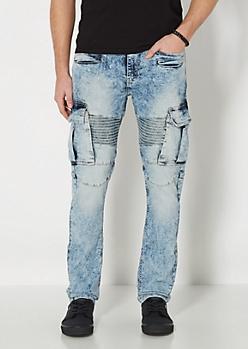 Acid Washed Cargo Moto Jean