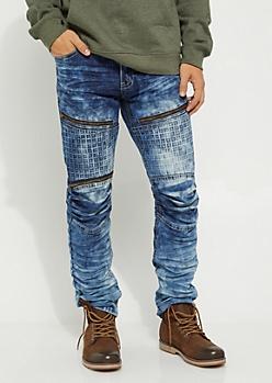 Medium Blue Cubed Moto Skinny Jean