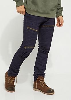 Dark Blue Cubed Moto Skinny Jean