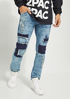 Patchwork Destroyed Skinny Jean