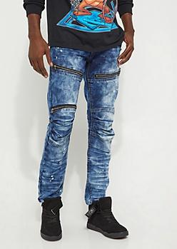 Dark Blue Bleached Moto Skinny Jean