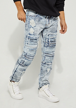 Light Layered Destroyed Moto Slim Jeans