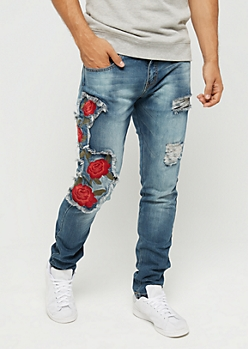 Flex Destroyed Red Rose Skinny Jean