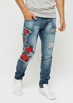 Flex Destroyed Red Rose Skinny Jean