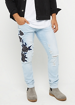 Flex Destroyed Black Rose Skinny Jean