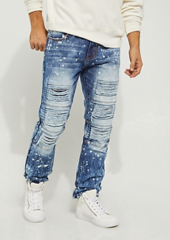Medium Layered Destroyed Moto Slim Jeans