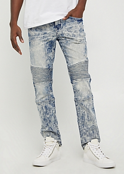Flex Acid Washed Moto Slim Jeans