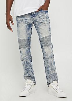 Flex Acid Washed Moto Slim Jean