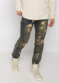 Flex Acid Washed Ripped Moto Skinny Jean