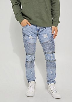 Vintage Flex Skinny Fit Distressed Double Moto Jeans