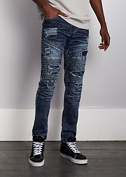 Flex Ripped & Repaired Moto Slim Jean