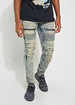 Medium Washed Zipped Moto Skinny Jean