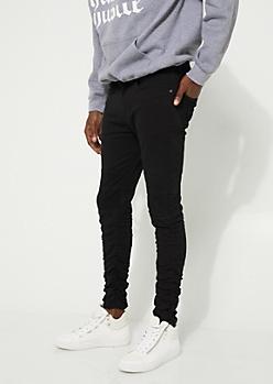 Black Zip Pocket Ruched Jogger