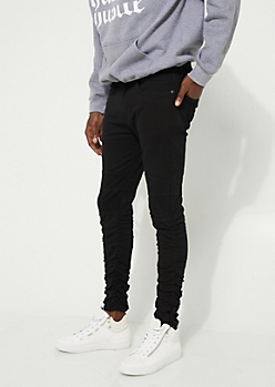 Black Zip Pocket Ruched Joggers