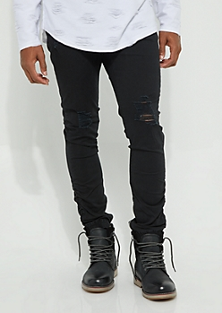 Black Twill Ruched Zip Ankle Joggers