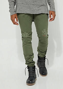 Olive Twill Ruched Zip Ankle Joggers