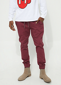 Red Tricolor Drawstring Jogger