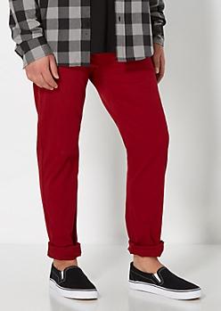 Burgundy Twill Skinny Pant