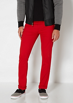 Fiery Red Twill Skinny Pant