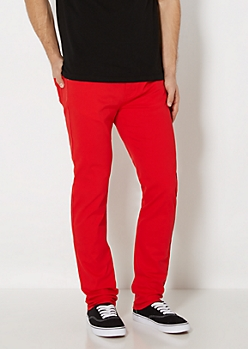 Freedom Flex Racing Red Twill Skinny Pant