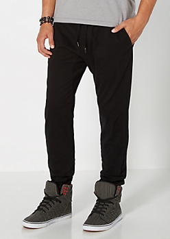 Black Solid Twill Athletic Jogger