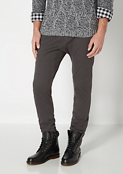 Charcoal Gray Solid Twill Athletic Jogger