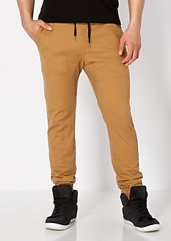 Camel Solid Twill Athletic Jogger