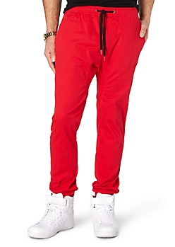 Red Solid Twill Athletic Jogger