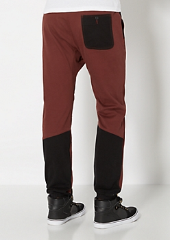 Gusseted Burgundy Jogger