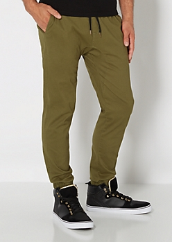 Olive Twill Jogger