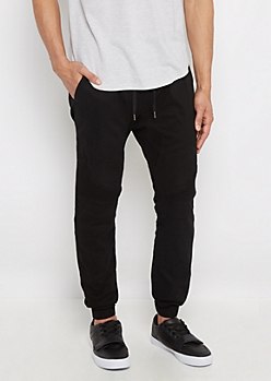 Black Flex Moto Twill Jogger