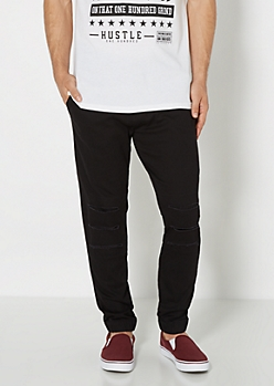 Black Ripped Twill Jogger