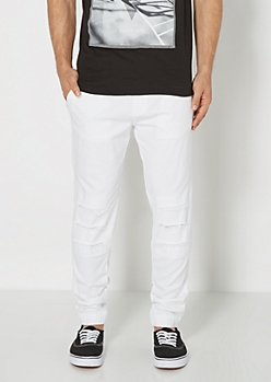 White Ripped Twill Jogger