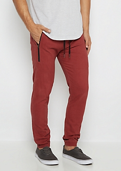Red Flex Zip Pocket Twill Jogger