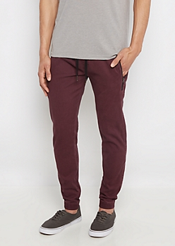 Burgundy Flex Zip Pocket Twill Jogger